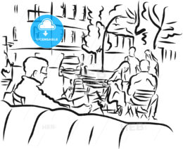 Berlin Cafe Scene Outline Sketch
