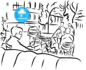 Berlin Cafe Scene Outline Sketch - Hebstreits