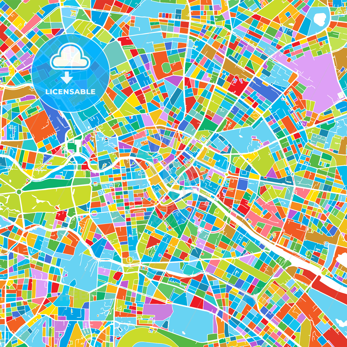 Berlin Colorful Vector Map - HEBSTREIT's Sketches