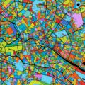 Berlin Colorful Vector Map on Black - Hebstreits