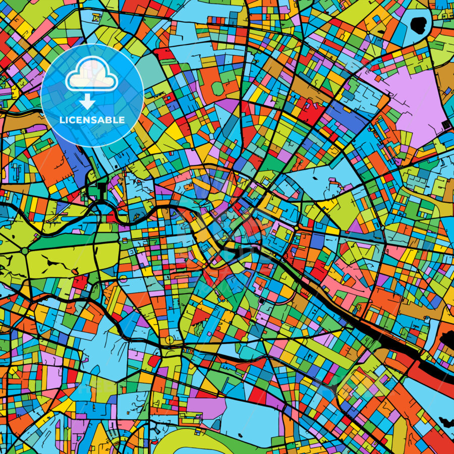 Berlin Colorful Vector Map on Black - HEBSTREIT's Sketches