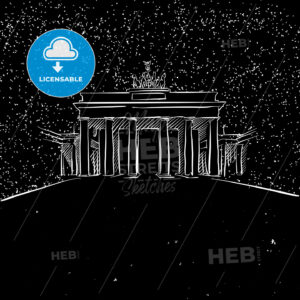 Berlin by Night Brandenburger Gate Sketch - Hebstreits