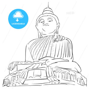 Big Buddha Phuket Outline Sketch - Hebstreits