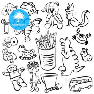 Big Set of Sketched Kids Toys - Hebstreits