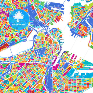Boston Colorful Vector Map - Hebstreits