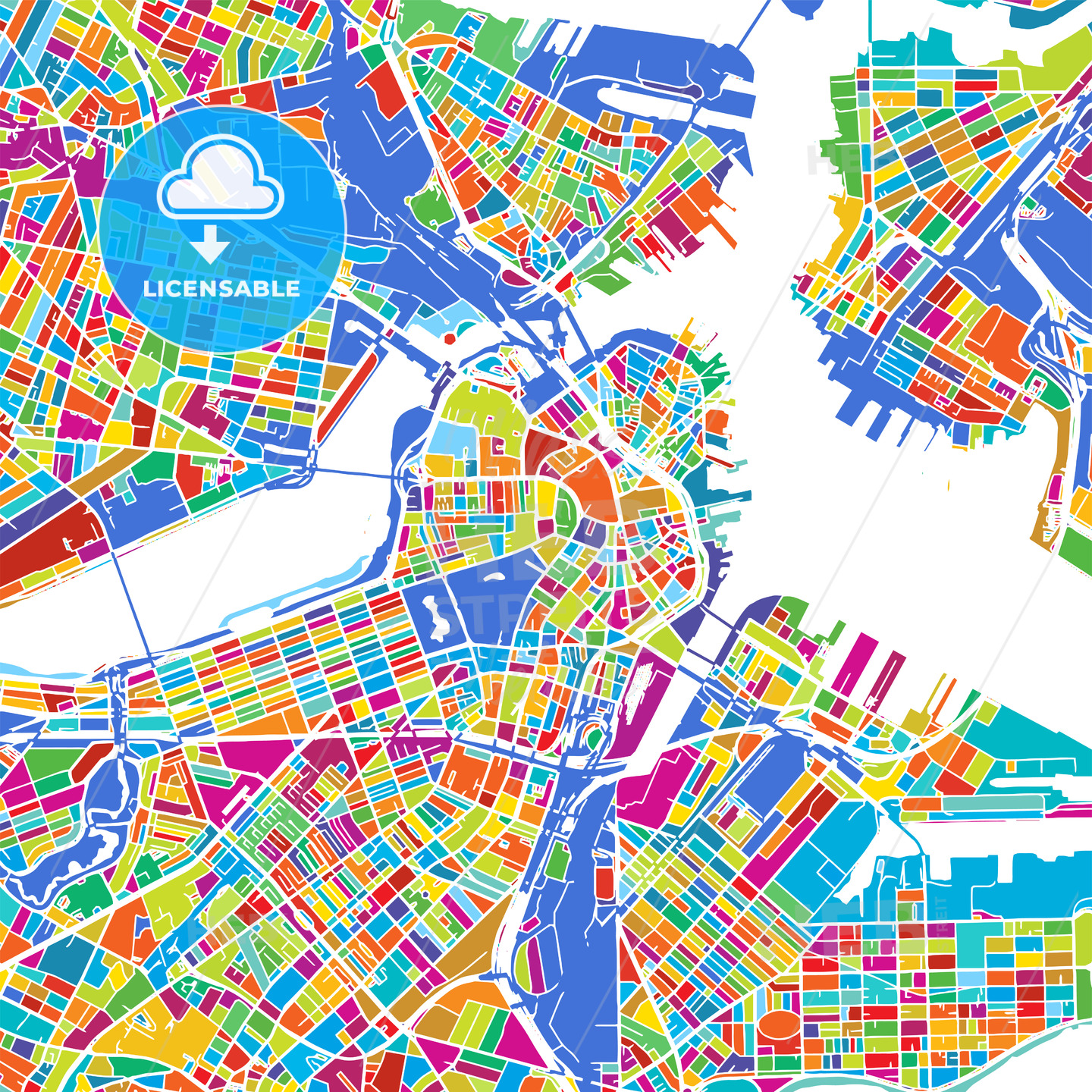 Boston Colorful Vector Map - HEBSTREIT's Sketches