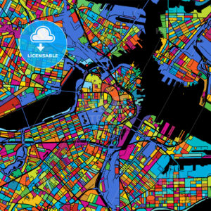 Boston Colorful Vector Map on Black - Hebstreits