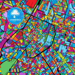 Brussels Colorful Vector Map on Black