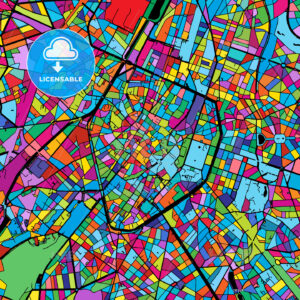 Brussels Colorful Vector Map on Black - Hebstreits