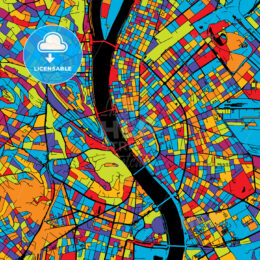Budapest Colorful Vector Map on Black
