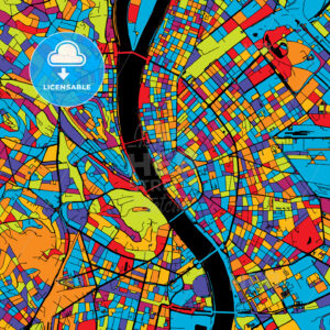 Budapest Colorful Vector Map on Black - Hebstreits