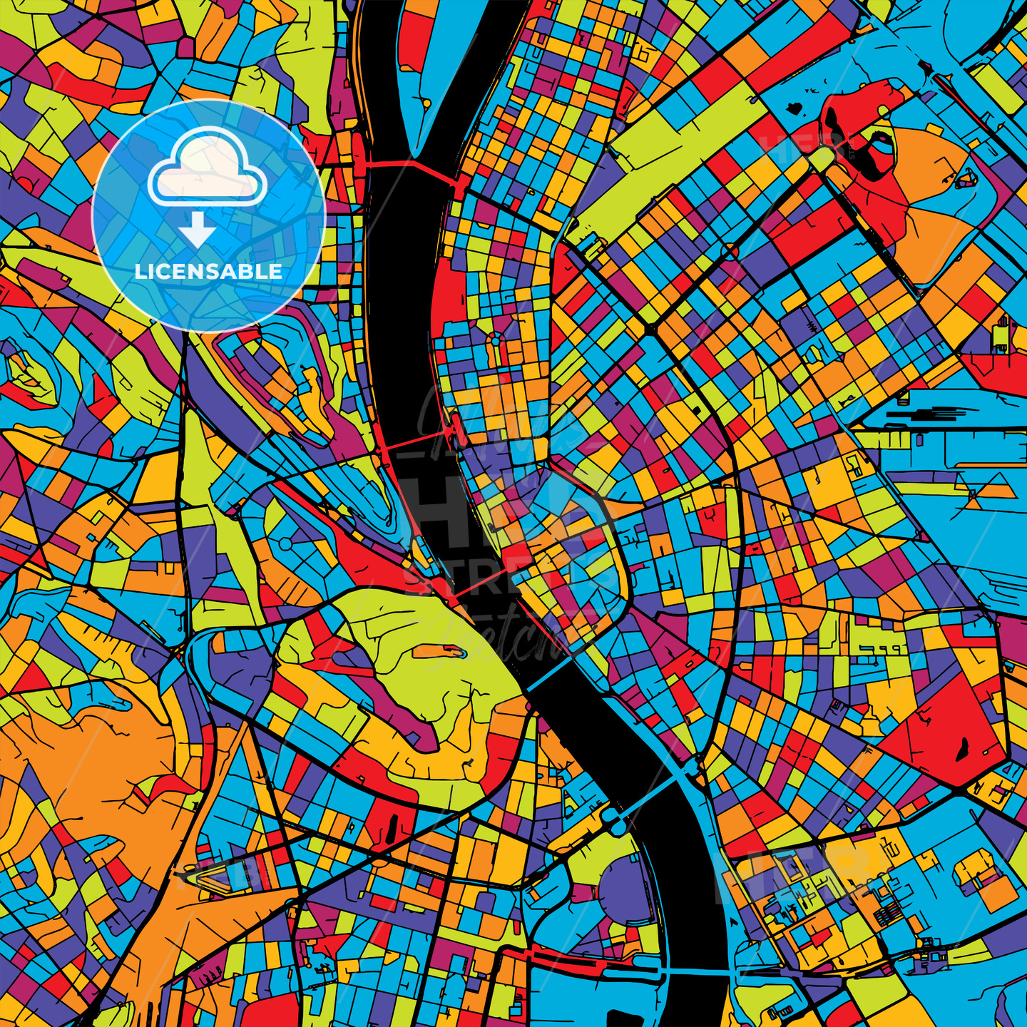 Budapest Colorful Vector Map on Black - HEBSTREIT's Sketches
