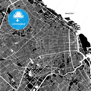 Buenos Aires One Color Map - HEBSTREIT's Sketches