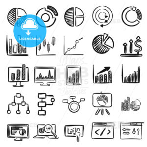 Business Charts Vector Doodles - Hebstreits