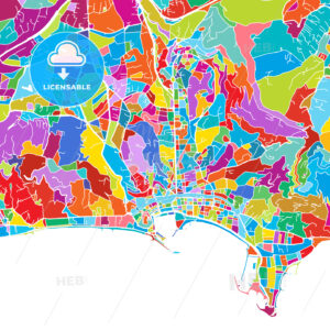 Cannes, France, Colorful Vector Map - Hebstreits