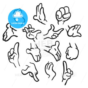 Cartoon hands gesture collection - Hebstreits