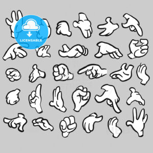 Cartoon hands gesture collection, filled - Hebstreits
