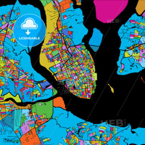 Charleston Colorful Vector Map on Black - Hebstreits