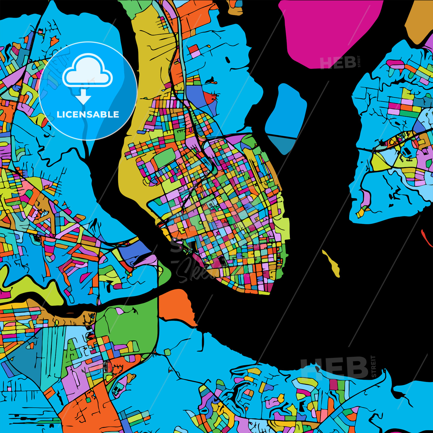 Charleston Colorful Vector Map on Black - HEBSTREIT's Sketches