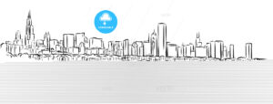 Chicago Outline Sketch with Michigan Lake in Foreground - Hebstreits