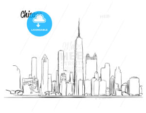Chicago Skyline, Hand drawn Silhouette - Hebstreits