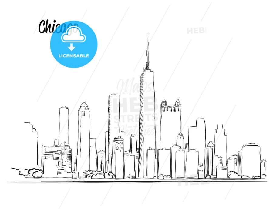 Line Drawing Nyc : Chicago skyline hand drawn silhouette hebstreits