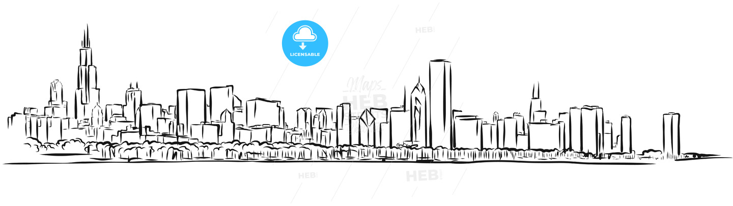 Chicago Skyline Outline Sketch - Hebstreits