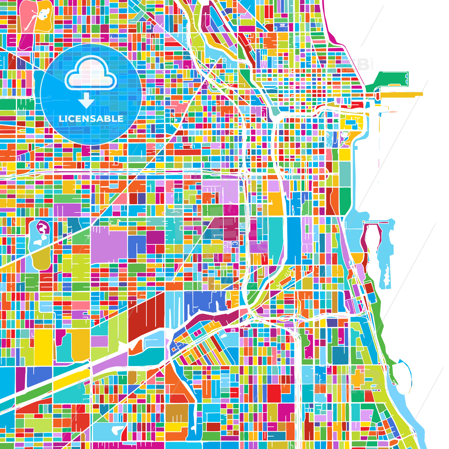 Chicago USA Colorful Vector Map HEBSTREIT