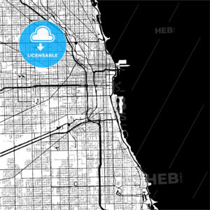 Chicago, USA, Monochrome Map Artprint - HEBSTREIT's Sketches