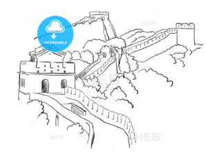 China Great Wall Vector Sketch - Hebstreits