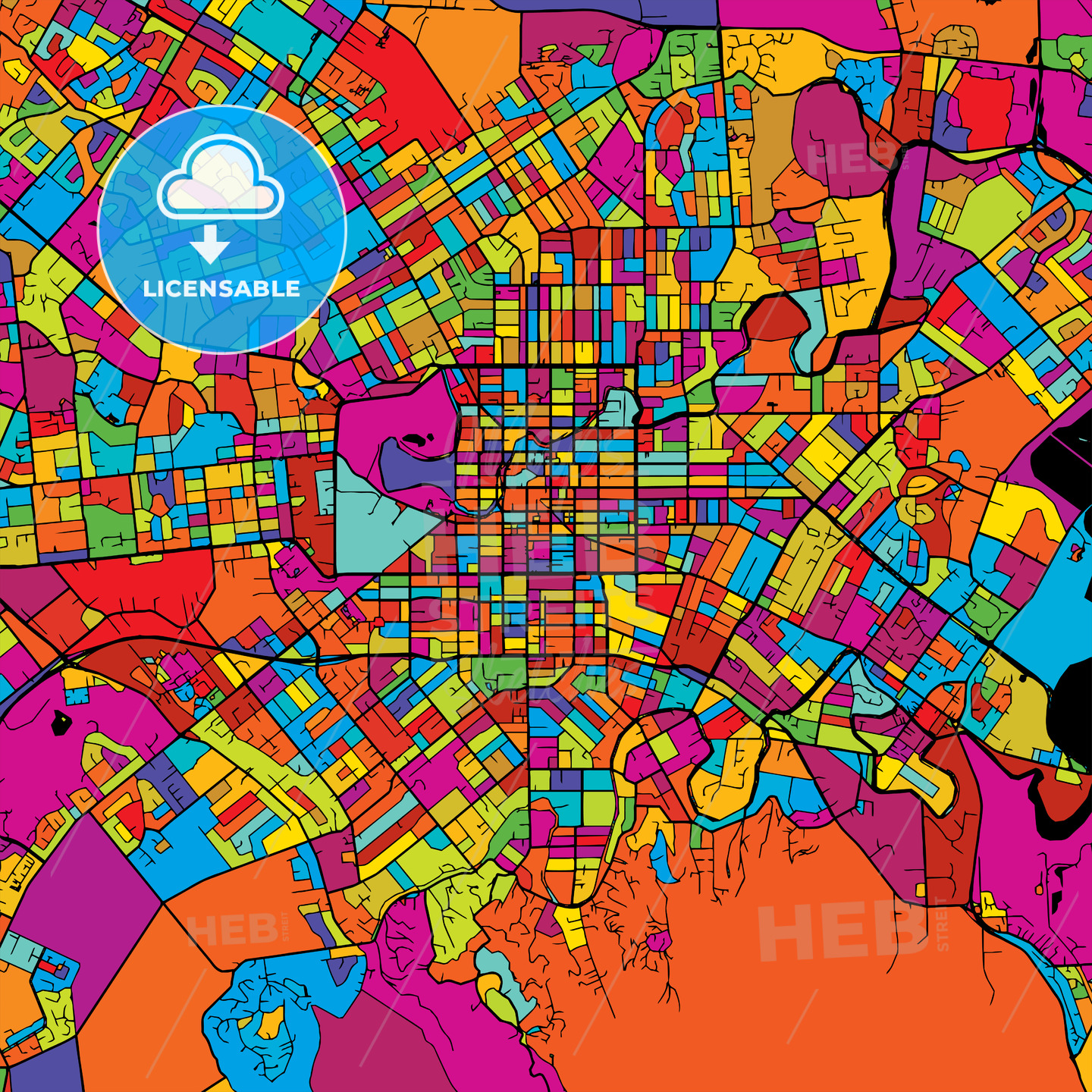 Christchurch Colorful Vector Map on Black - Hebstreits