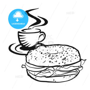 Coffee or tea with Bagel logo - Hebstreits