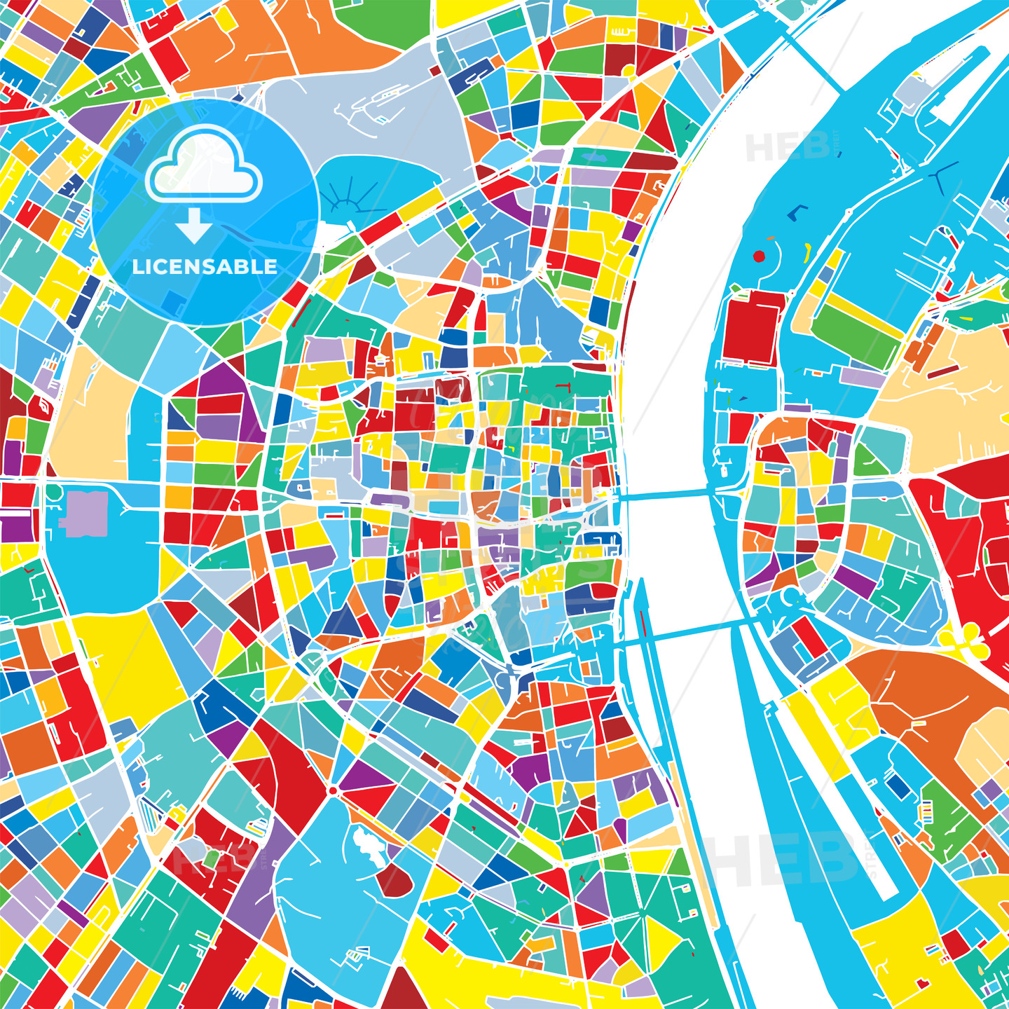 Cologne Germany Colorful Vector Map Hebstreits