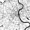Cologne, Germany, Monochrome Map Artprint - Hebstreits