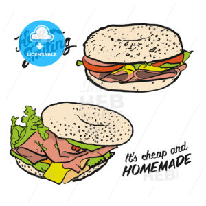 Colored Bagel Sandwich with handdrawn Type - Hebstreits