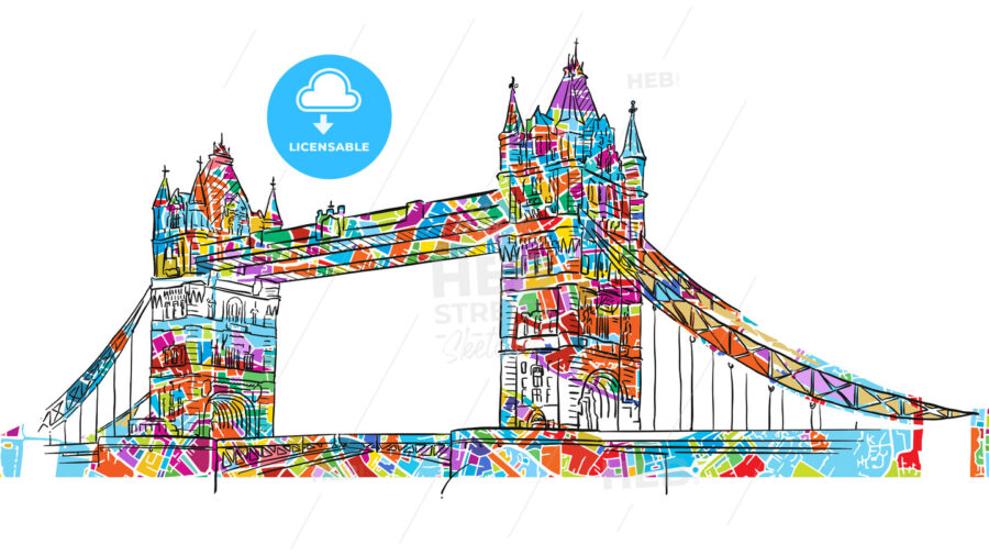 Colored London Tower Bridge Symbol - HEBSTREIT's Sketches
