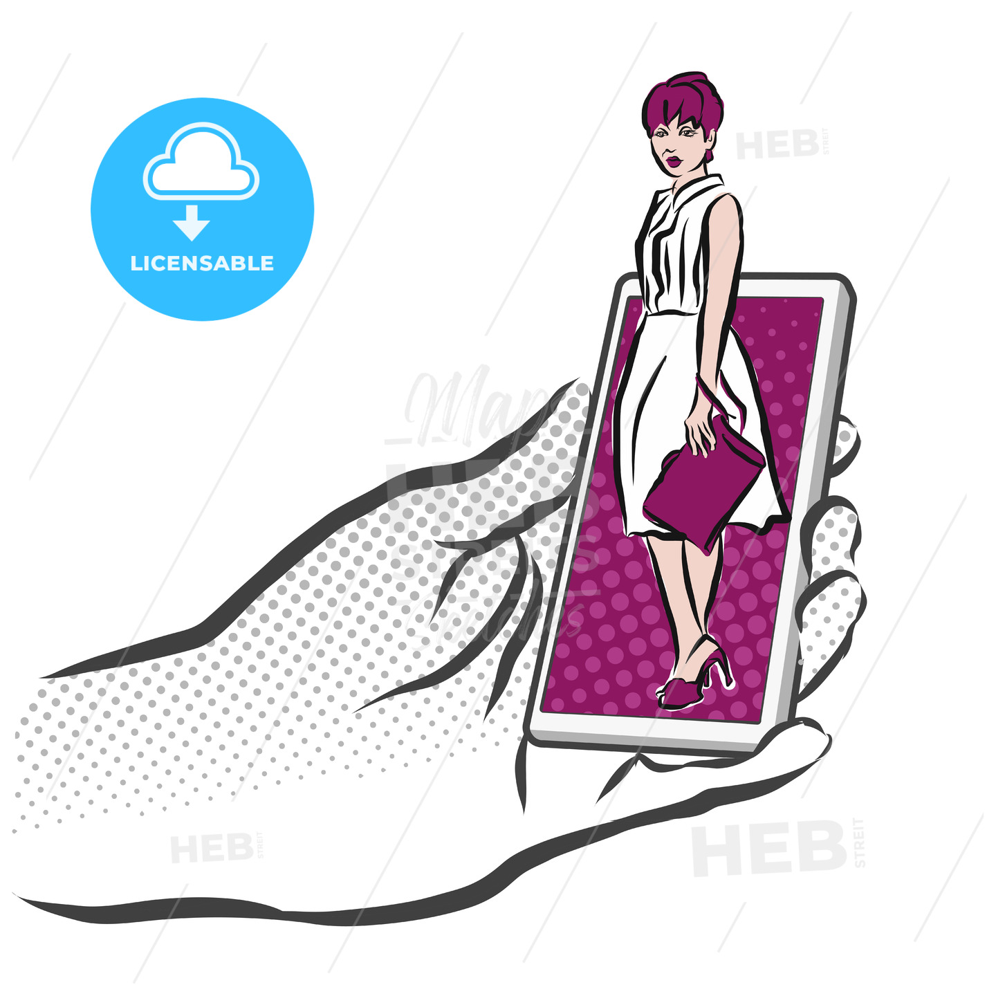 Concept Sketch Girl on Smarthone for Shopping App - Hebstreits
