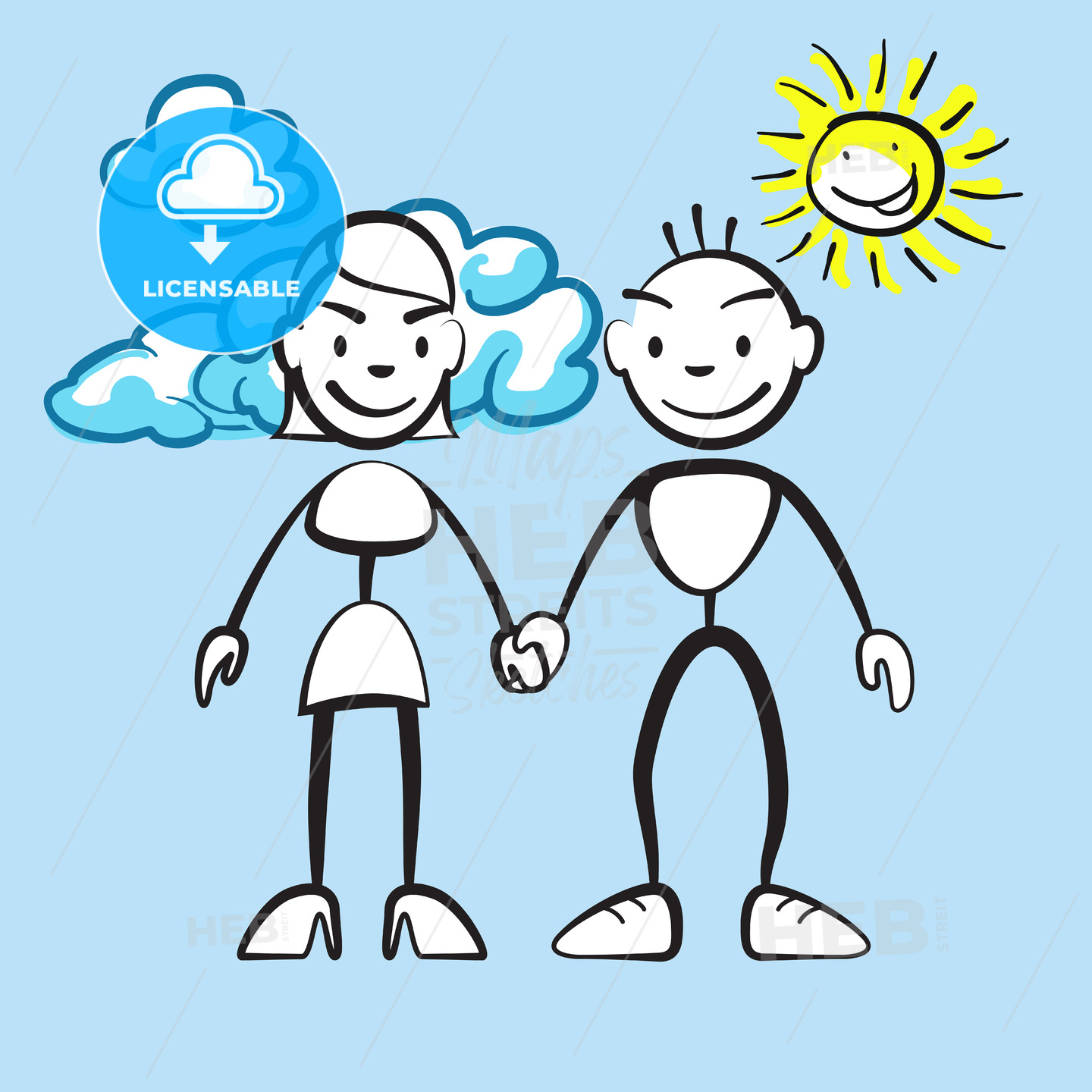 Couple smiling with clouds and sun - Hebstreits