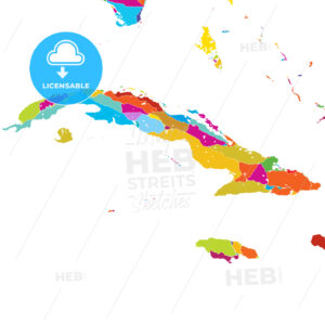 Cuba, Caribbean, Colorful Vector Map - Hebstreits