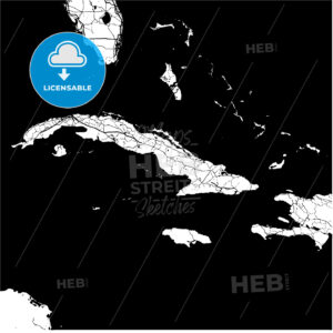 Cuba, Caribbean, Monochrome Map Artprint - HEBSTREIT's Sketches