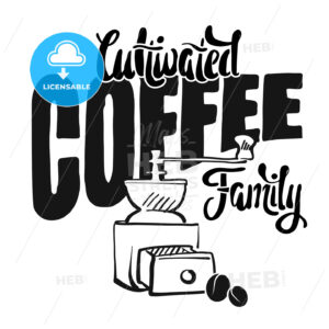 Cultivated coffee family – poster vintage style - Hebstreits