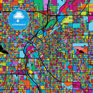 Denver Colorful Vector Map on Black - HEBSTREIT's Sketches
