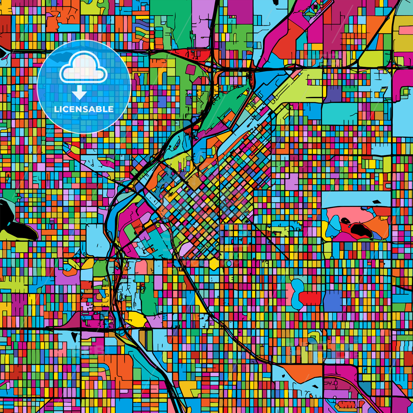Denver Colorful Vector Map on Black - Hebstreits