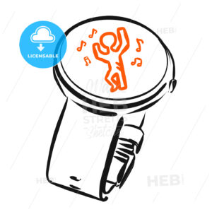 Digital Watch with dancing App icon, Concept Sketch - Hebstreits