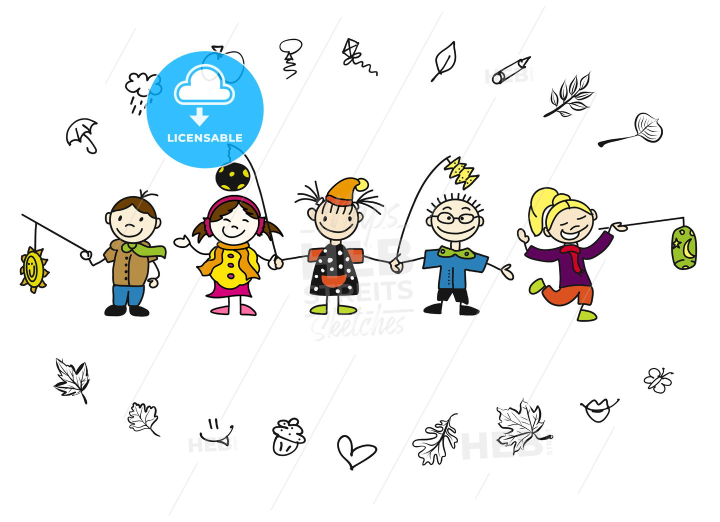 Doodle Autumn Kids with Latern and Leaves - Hebstreits