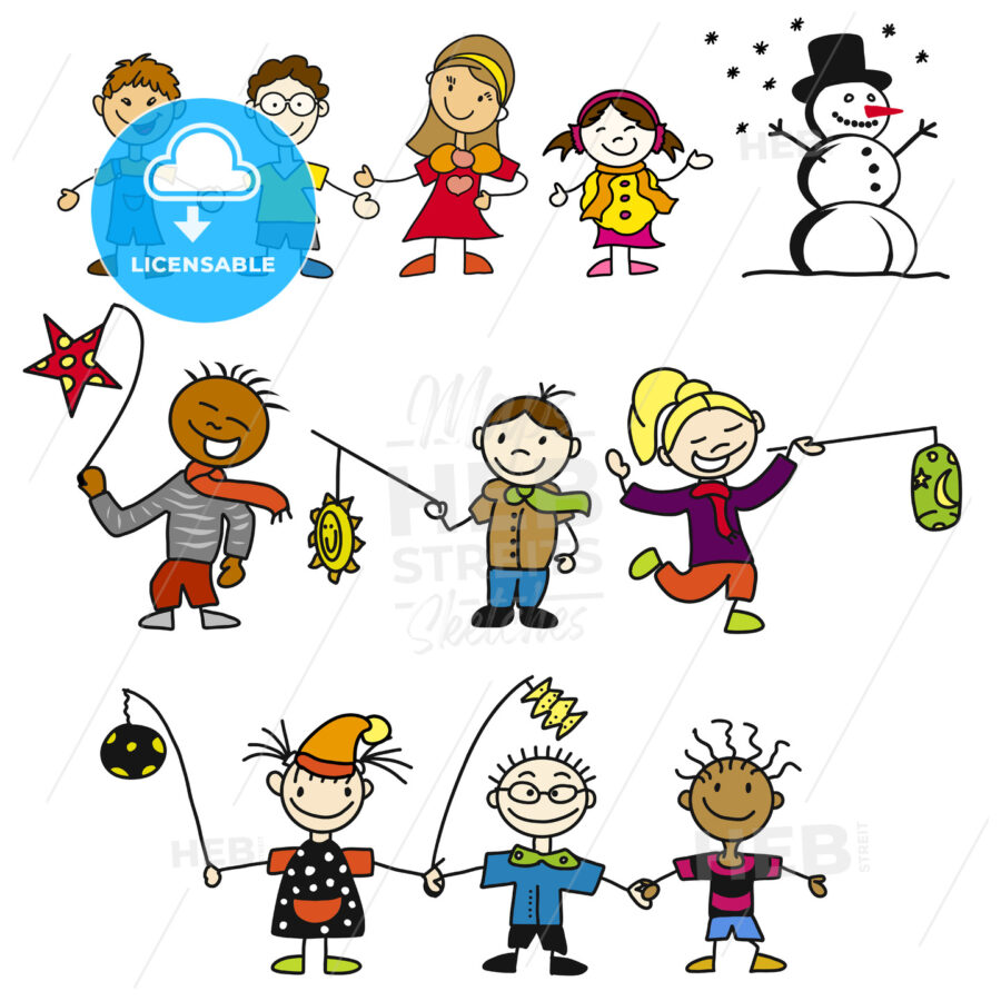 Doodle Kindergarten Kids with Latern, Mother and Snowman - Hebstreits