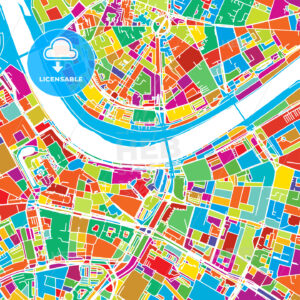 Dresden, Germany, Colorful Vector Map - Hebstreits