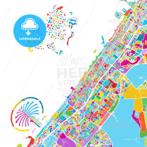 Dubai Colorful Vector Map - HEBSTREIT's Sketches