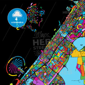 Dubai Colorful Vector Map on Black - HEBSTREIT's Sketches
