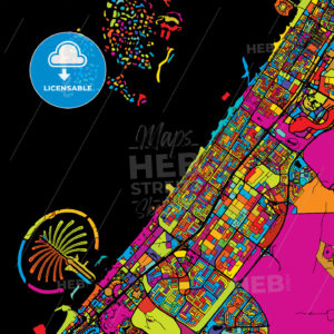Dubai Colorful Vector Map on Black - Hebstreits